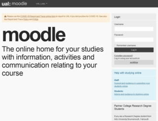moodle.arts.ac.uk screenshot