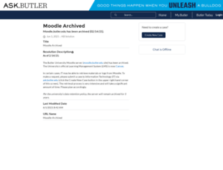 moodle.butler.edu screenshot