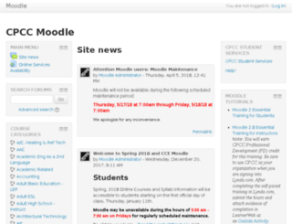 moodle.cpcc.edu screenshot