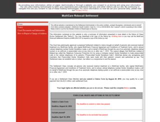 multicarerobocallsettlement.com screenshot