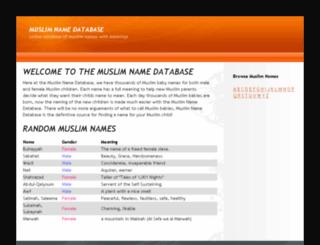 muslimnamedatabase.com screenshot