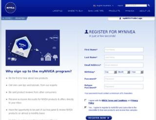 my.nivea.com.au screenshot