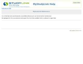 my.studylink.govt.nz screenshot