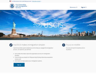my.uscis.gov screenshot
