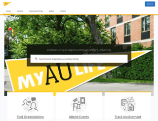 myaulife.adelphi.edu screenshot