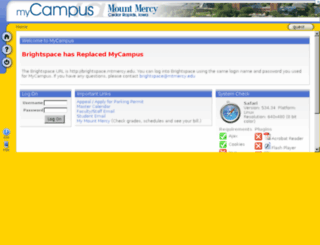 mycampus.mtmercy.edu screenshot
