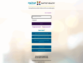 mychart.baptisthealth.com screenshot