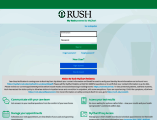 mychart.rush.edu screenshot