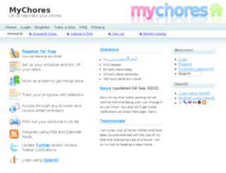 mychores.co.uk screenshot
