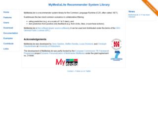 mymedialite.net screenshot