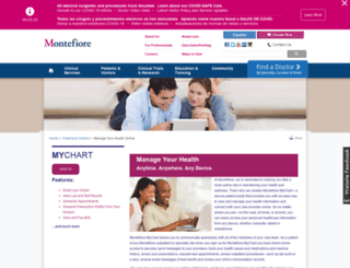 mymontefiore.org screenshot