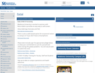 myportal.madonna.edu screenshot
