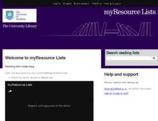 myresourcelists.shef.ac.uk screenshot