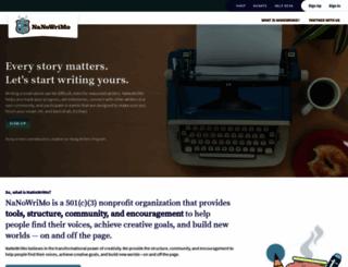nanowrimo.org screenshot