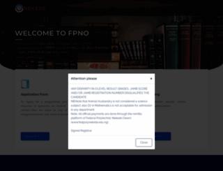 ndapplication.fpno.edu.ng screenshot