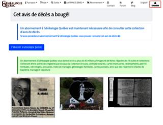 necrologie.genealogiequebec.com screenshot