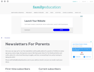 newsletters.familyeducation.com screenshot