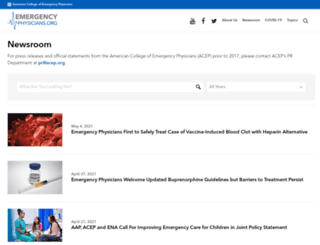 newsroom.acep.org screenshot