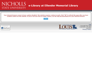 nicholls.louislibraries.org screenshot