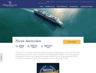nieuwamsterdam.hollandamerica.com screenshot