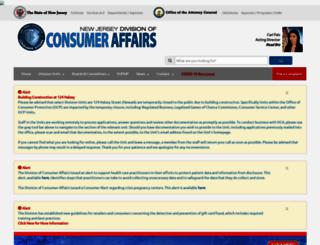 njconsumeraffairs.gov screenshot