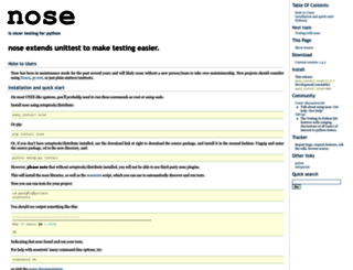 nose.readthedocs.org screenshot