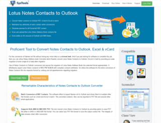 notescontactstooutlook.com screenshot