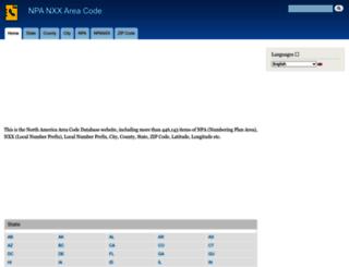 npa.areacodebase.com screenshot