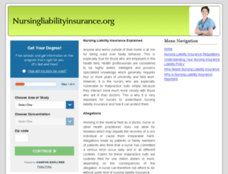nursingliabilityinsurance.org screenshot