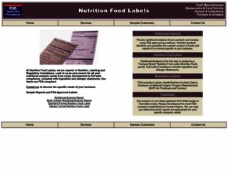 nutritionfoodlabels.com screenshot