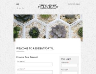 oaksofvalleyranch.residentportal.com screenshot