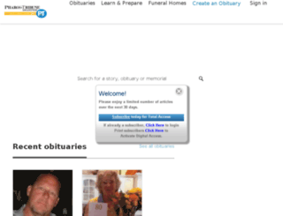 obituaries.pharostribune.com screenshot