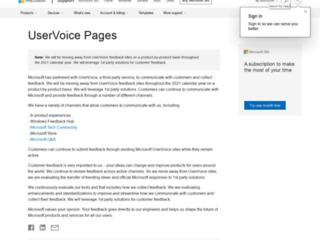 onenote.uservoice.com screenshot