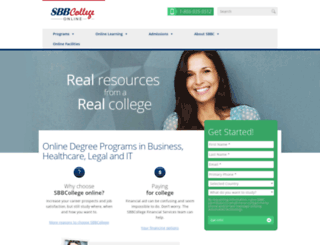 online.sbbcollege.edu screenshot