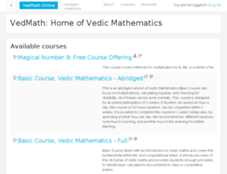 online.vedmath.com screenshot