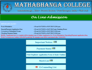 onlineadmissionmtbcollege.org.in screenshot
