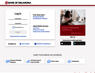 onlinebanking.bankofoklahoma.com screenshot