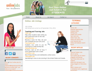 onlinejobsforstudents.com screenshot