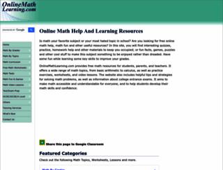 onlinemathlearning.com screenshot