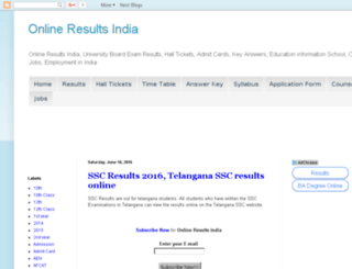 onlineresultsindia.com screenshot