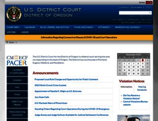 ord.uscourts.gov screenshot