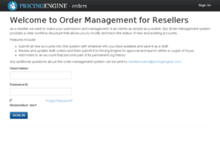 orders.pricingengine.com screenshot