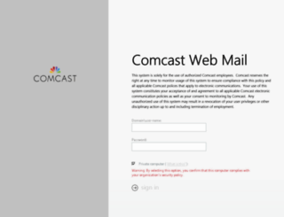 owa.comcast.com screenshot