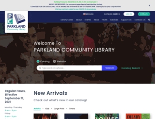 parklandlibrary.org screenshot