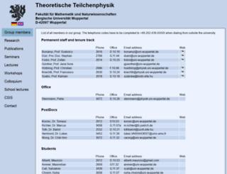 particle.uni-wuppertal.de screenshot