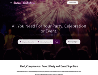partiesandcelebrations.com.au screenshot