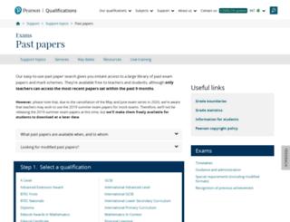 pastpapers.edexcel.com screenshot