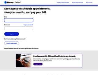 patient.labcorp.com screenshot