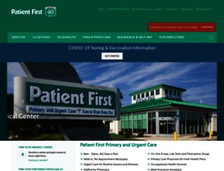 patientfirst.com screenshot