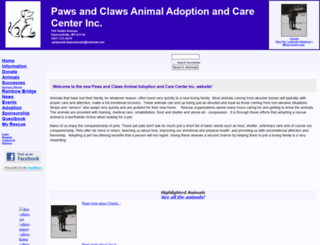 pawsandclawsanimals.rescuegroups.org screenshot